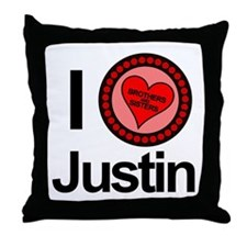 I Love Justin Brothers & Sisters Throw Pillow