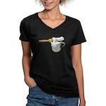 Shaving Brush Cup Women's V-Neck Dark T-Shirt