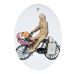 Riding Bike with Basket of Fo Ornament (Oval)