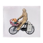 Riding Bike with Basket of Fo Throw Blanket