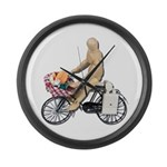 Riding Bike with Basket of Fo Large Wall Clock