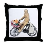 Riding Bike with Basket of Fo Throw Pillow