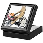 Riding Bike with Basket of Fo Keepsake Box