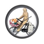 Riding Bike with Basket of Fo Wall Clock
