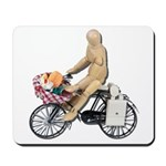 Riding Bike with Basket of Fo Mousepad