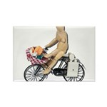 Riding Bike with Basket of Fo Rectangle Magnet (10