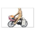 Riding Bike with Basket of Fo Sticker (Rectangle 1