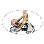 Riding Bike with Basket of Fo Sticker (Oval 50 pk)