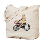 Riding Bike with Basket of Fo Tote Bag