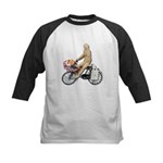 Riding Bike with Basket of Fo Kids Baseball Jersey