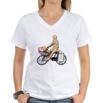 Riding Bike with Basket of Fo Women's V-Neck T-Shi