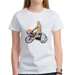 Riding Bike with Basket of Fo Women's T-Shirt
