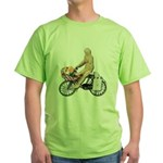 Riding Bike with Basket of Fo Green T-Shirt