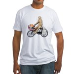 Riding Bike with Basket of Fo Fitted T-Shirt