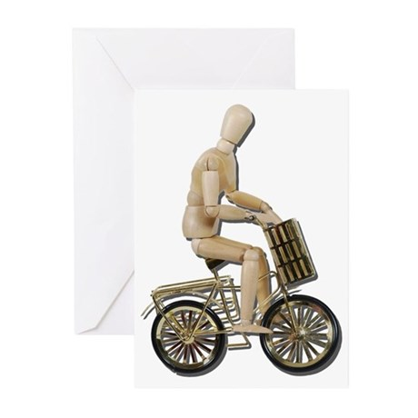 Riding Bicycle with Basket Greeting Cards (Pk of 1