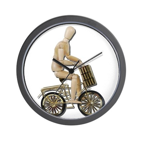 Riding Bicycle with Basket Wall Clock