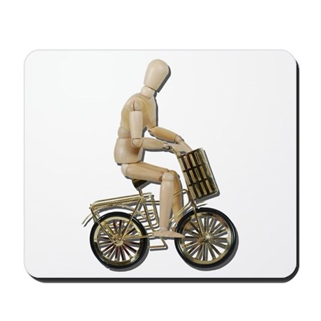 Riding Bicycle with Basket Mousepad