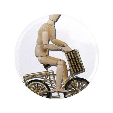 """Riding Bicycle with Basket 3.5"""" Button"""