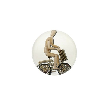 Riding Bicycle with Basket Mini Button