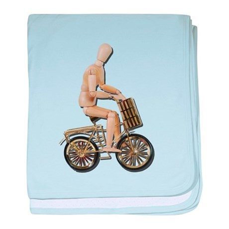 Riding Bicycle with Basket baby blanket