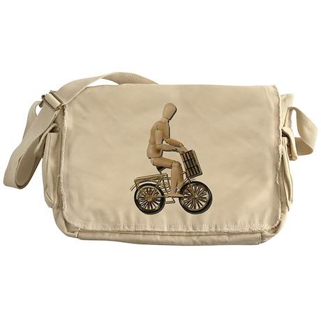 Riding Bicycle with Basket Messenger Bag
