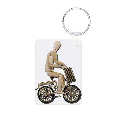 Riding Bicycle with Basket Aluminum Photo Keychain