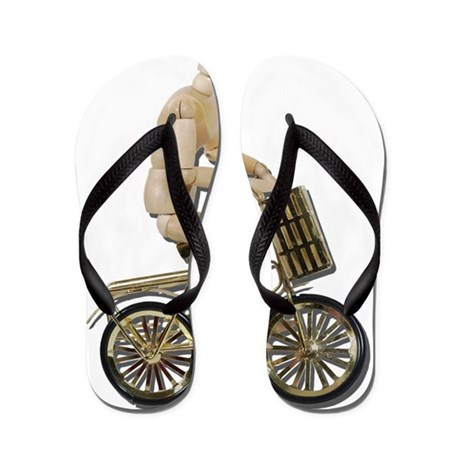 Riding Bicycle with Basket Flip Flops