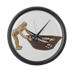 Pushing Rowboat with Nets Large Wall Clock