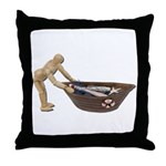 Pushing Rowboat with Nets Throw Pillow