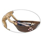 Pushing Rowboat with Nets Sticker (Oval 50 pk)