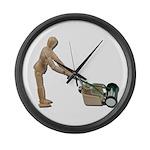 Pushing Lawnmower Large Wall Clock