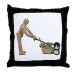 Pushing Lawnmower Throw Pillow