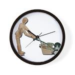 Pushing Lawnmower Wall Clock