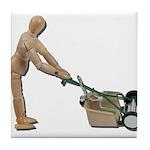 Pushing Lawnmower Tile Coaster