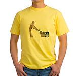 Pushing Lawnmower Yellow T-Shirt