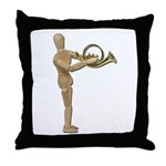 Play Simple French Horn Throw Pillow