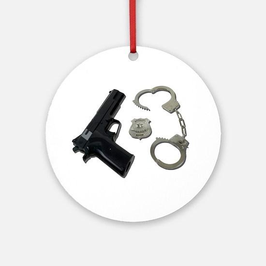 Police Badge Gun Handcuffs Ornament (Round)