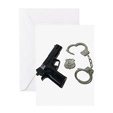 Police Badge Gun Handcuffs Greeting Card