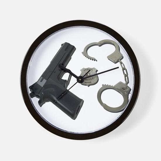 Police Badge Gun Handcuffs Wall Clock