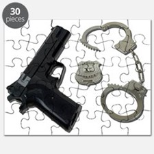 Police Badge Gun Handcuffs Puzzle