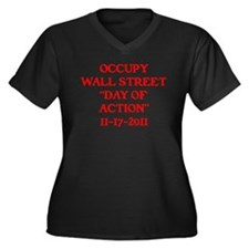 """OCCUPY """"DAY OF ACTION"""" . Women's Plus Size V-Neck"""