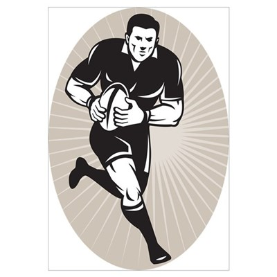 rugby player black Canvas Art