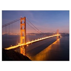 Night at the Golden Gate Bridge Poster