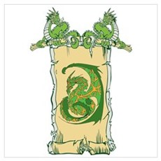 Scroll with Green Dragons Poster