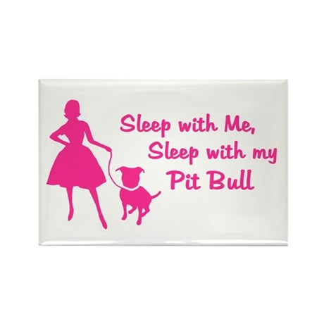 Sleep with My Pit Bull (retro Rectangle Magnet