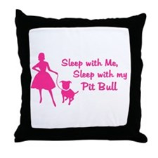 Sleep with My Pit Bull (retro Throw Pillow
