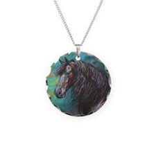 Zelvius The Friesian Horse Necklace Circle Charm