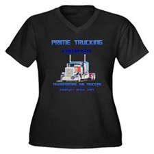 Prime Trucking Women's Plus Size V-Neck Dark T-Shi