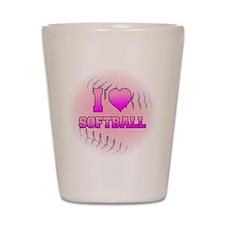 I Love Softball (Pink Softball) Shot Glass