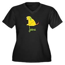 Jana Loves Puppies Women's Plus Size V-Neck Dark T